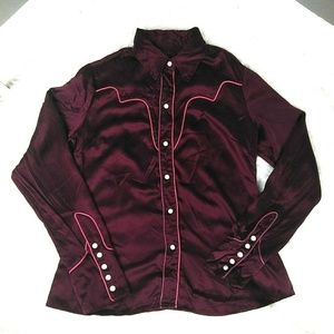 Lucky Brand 100% Silk Pearl Snap Maroon Button Top